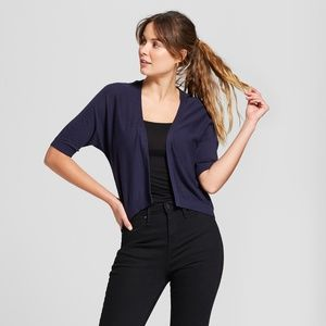 Women's Short Sleeve Cardigan A New Day Navy - S